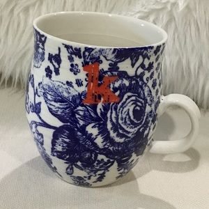 Anthropologie blue floral monogram coffee mug cup